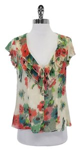 Nanette Lepore Multi Color Floral Silk Top