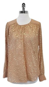 Elizabeth and James Tan & Gold Metallic Spotted Silk Top
