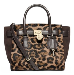 Michael Kors Haircalf Leather Mk Satchel in brown leopard