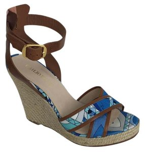 Emilio Pucci blue brown white Wedges