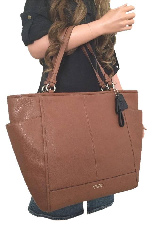 Coach Large Leather Handbag Handbags Zip Very Extra Tote In Brown Saddle