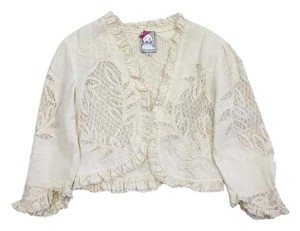 Yoana Baraschi Cream Crochet Cropped Cotton Cardigan