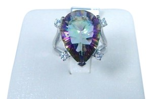 9.2.5 Stunning Pear Shape Mystic quartz Ring Cubic Zirconia Sterling Silver