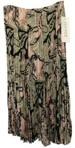 Allison Taylor Art Deco Pleated Lined Maxi Skirt Black Pink Paisley
