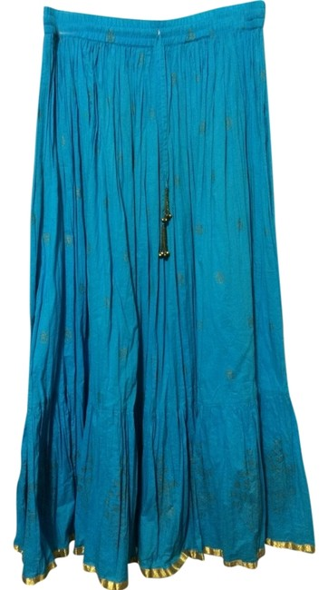Preload https://img-static.tradesy.com/item/1736753/turquoise-and-gold-boho-maxi-skirt-size-8-m-29-30-0-0-650-650.jpg