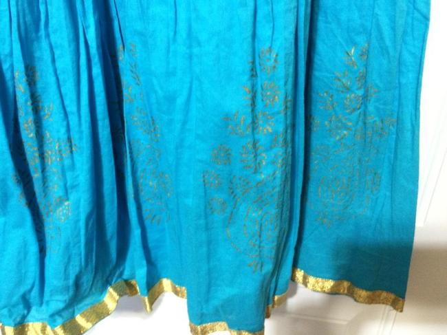 Prominence Boho Bells Exotic Indian Sari Maxi Skirt Turquoise & Gold