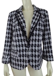 Catherine Malandrino New Stretch Knit Large Black, White, Gray, Houndstooth Blazer