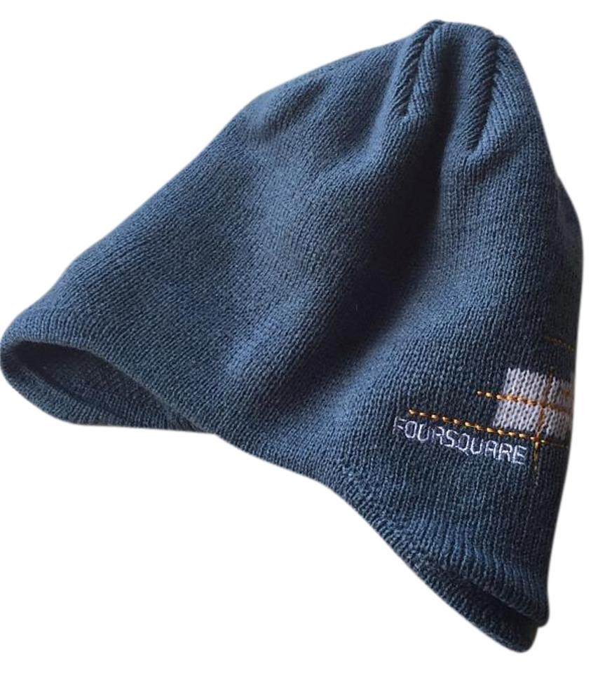 Foursquare Blue and White Knit Beanie Hat - Tradesy 0c3fe904042