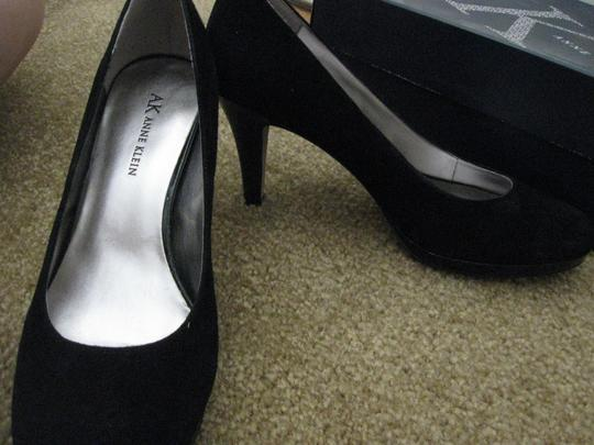 Anne Klein Almond Toe Black Suede Pumps