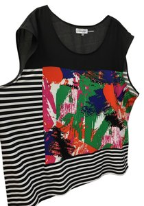 Calvin Klein Sleeveless Jersey Blouse Plus Top Two Tone Striped/Paint Print
