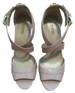 Michael Kors Cork Sole Patent Leather Nude Wedges
