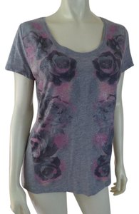 DKNY Stretchy Pullover Hi-lo New T Shirt Gray Heather