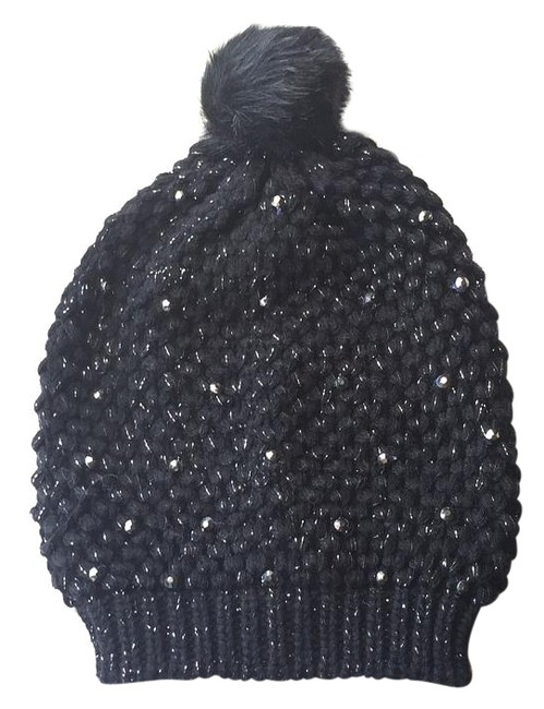 Item - Black Slouchy Knitted Jewled Beanie Hat