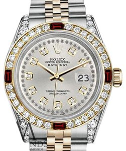 Rolex Women's Rolex Steel & Gold 31mm Silver String Dial Ruby & Diamond
