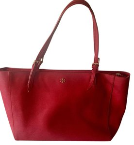 Tory Burch Leather Tote in Red
