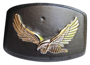 Other New Men Simple Silver Metal Cowboy Western Trendy Buckle Eagle Black Faux Leather