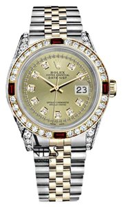 Rolex Women's Rolex Steel & Gold 31mm Datejust Watch Champagne String Dial Ruby & Diamond Bezel