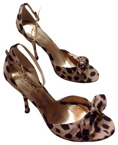 Guess Satin Ankle Strap Leopard Sandals