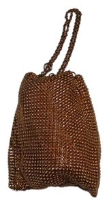 Whiting & Davis & Art Deco Mesh Flapper Drawstring Top Gold Clutch