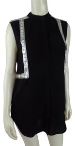 Torn by Ronny Kobo Beads Sleeveless New Blouse Button Down Shirt Black