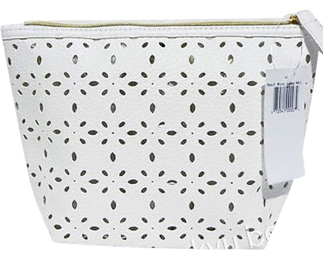 Item - White Leather Perforated By Cosmetic Bag