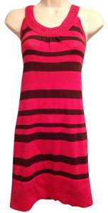 French Connection short dress Dark Pink/brown Stripe on Tradesy