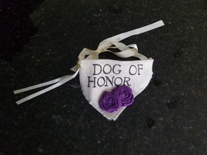 Ivory Dog Collar With Purple Muslin Flowers