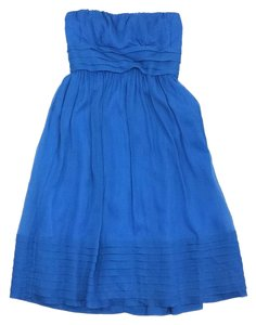 J.Crew short dress Blue Chiffon Strapless on Tradesy