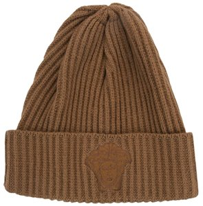 Versace Versace Camel Knitted Beanie Wool/Cashmere Blend Hat