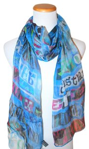 Christian Lacroix NWT AUTHENTIC CHRISTIAN LACROIX BLUE FLOWER SILK ITALY MULTICOLOR SCARF