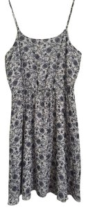 Ann Taylor LOFT short dress Light Grey/Blue Floral Chiffon Flowy on Tradesy