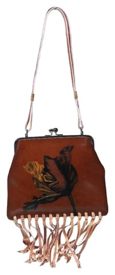Fendi Vintage Leather Hand Fringed Leather Hand-painted One Of A Kind Made In Italy Hand Pink Snakeskin Fringe Art Satchel in Camel