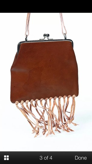 Fendi Vintage Leather Handbag Fringed Leather Hand-painted One Of A Kind Made In Italy Handbag Pink Snakeskin Fringe Satchel in Camel