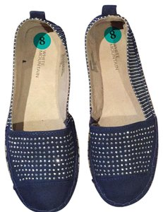 White Mountain Pet And Smoke Free Denim Blue Navy Flats