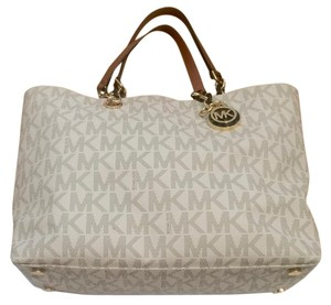 Michael Kors Leather Tortoise Shell Satchel in Cream/brown dotted MK