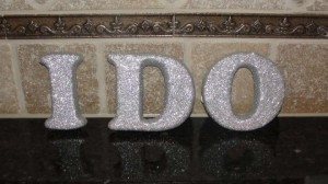 Silver I Do Letters Reception Decoration