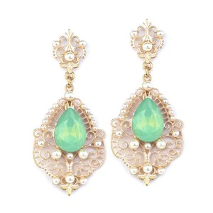 Mariell Mariell Gold Frost Dangle Earrings With Mint Opal Pear 4303e-mt-g