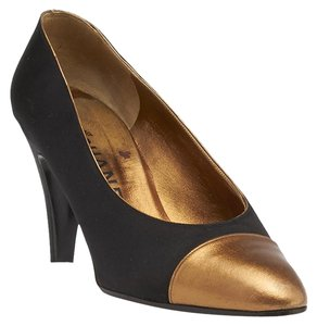 Chanel Satin Leather Gold & Black Pumps