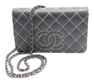 Chanel Pink Gray Wallet On Chain Woc Cross Body Bag