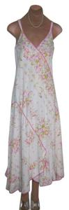 WHITE WITH PINK ROSES + RIBBONS PRINT Maxi Dress by Oscar de la Renta Quality Tailoring