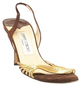 Jimmy Choo Suede Brown & Gold Sandals