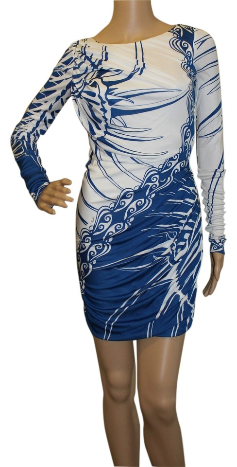 ecef0cab5754 Emilio Pucci Multi-color White and Blue with Abstract Pattern Above ...