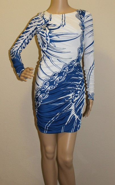 Emilio Pucci Blue White Sexy Abstract Print Printed Dress
