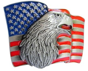 Other Men Silver Cowboy Western Belt Buckle Eagle's Head USA American Flag