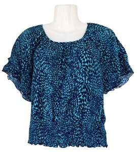 Apt. 9 Stretchy Boho Teal Top teal, black
