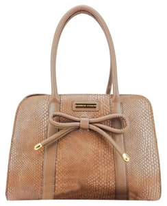 Adrienne Vittadini Bow Gold Embossed Croc Shoulder Bag