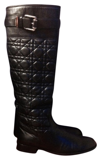Dior Black Rare Christian Quilted Cannage Knee Hi Boots/Booties Size US 9 Regular (M, B) Dior Black Rare Christian Quilted Cannage Knee Hi Boots/Booties Size US 9 Regular (M, B) Image 1