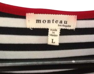 Monteau Los Angeles short dress Black and white stripe on Tradesy