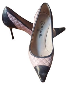 Chanel Quilted Lambskin Pink and Black Pumps