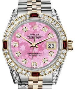Rolex Women's Rolex Steel & Gold 31mm Datejust Pink MOP Dial Ruby Diamond